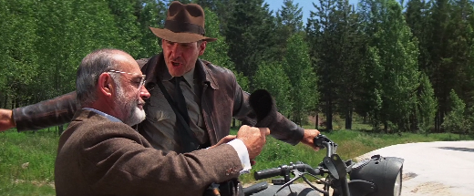 INDIANA JONES AND THE LAST CRUSADE -- Indy and dad talk on motorcycle