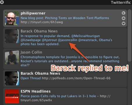 Barack Obama replies to me in Twitter