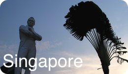 Singapore statue and palm at dusk in silhouette